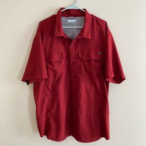 Columbia Red Vented Short Sleeve Button Down Shirt